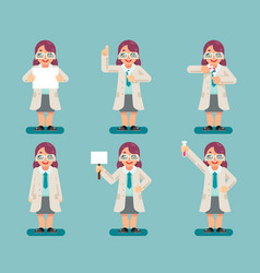 female wise smart scientist chemical test tubes vector image