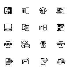 flat design mobile devices and services icons set vector image