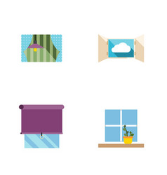 Flat icon frame set of flowerpot curtain cloud vector