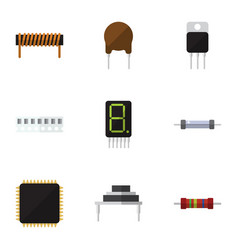 flat icon technology set of resistor cpu vector image