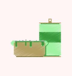 Flat shading style icon pixel soda and hot dog vector