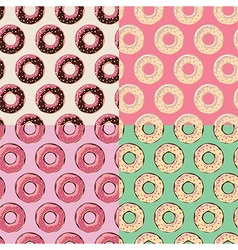 Four seamless patterns with colorful tasty donuts vector