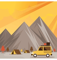 Four Wheel Drive Off Road Car Camp with Mountain vector image