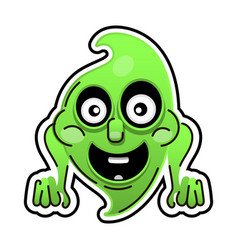 funny cartoon ghost on white background happy vector image