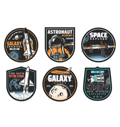 Galaxy research space explore and astronaut icon vector