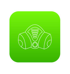 Gas mask icon green vector