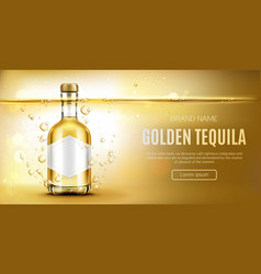 golden tequila bottle mock up advertising banner vector image