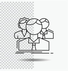 Group multiplayer people team online line icon on vector