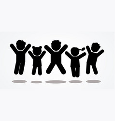 Group of children jumping icon vector