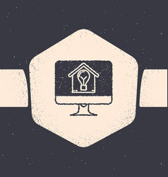 Grunge computer monitor with smart house and light vector