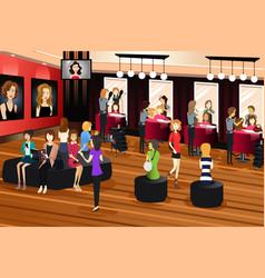 Hair salon scene vector