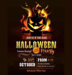 Halloween party invitation with scary pumpkins vector