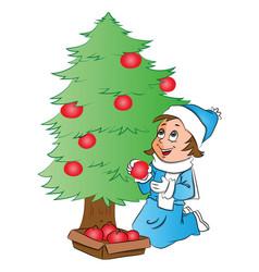 happy woman decorating christmas tree vector image
