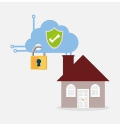 Home security shield protection cloud smart vector
