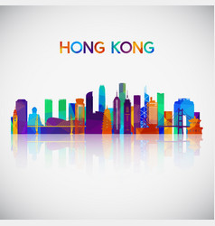 hong kong skyline silhouette in colorful vector image