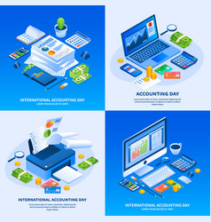 international accounting day banner set isometric vector image