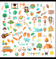 kids camping cartoon set of vector image