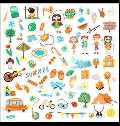 kids camping cartoon set vector image