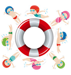Kids in swimming suit around safety float vector