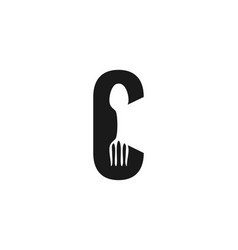 letter c fork and spoon logo designs inspiration vector image