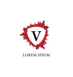 Letter v alphabet logo design template splash of vector