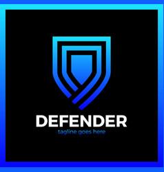 line shield logo vector image