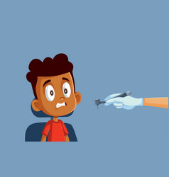 Little boy scared of the dentist cartoon vector