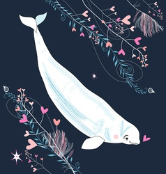 Love whale vector