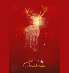 merry christmas gold deer glitter greeting card vector image