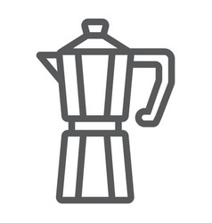 Moka pot line icon coffee and cafe coffeemaker vector