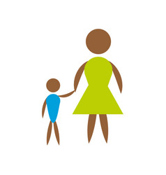 Mother and son icon vector