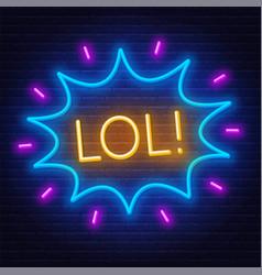 Neon sign lol in frame on dark background vector