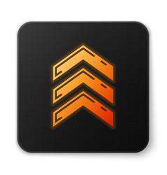 Orange glowing neon military rank icon isolated on vector