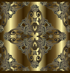 ornate baroque gold seamless pattern surface vector image