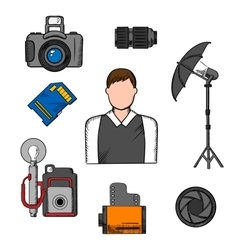 Photographer equipment and items icons vector
