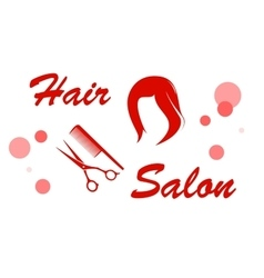 Red hair salon signboard vector
