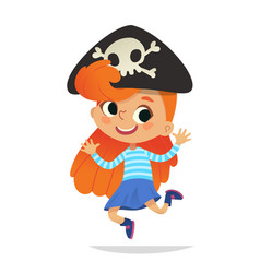 redhead wearing cocked hat with the skull dancing vector image