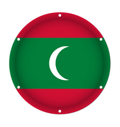 round metallic flag of maldives with screw holes vector image