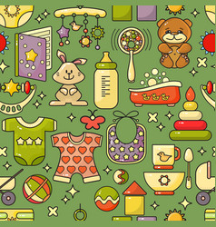 seamless pattern kids accessory toys and vector image