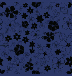Seamless repeat floral pattern on navy background vector