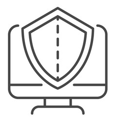secured computer icon outline style vector image