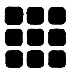 set black drawn square stickers vector image
