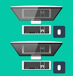 Set of computers in flat style Top view vector image