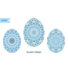 Set of easter eggs decorated with ornament vector image