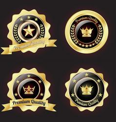 set of golden premium quality badge vector image