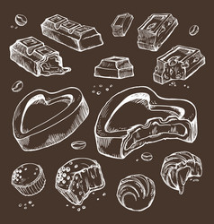 set of sketches bitten chocolates sweet vector image