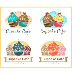 Set of sweet cupcake bakery badge label design vector image