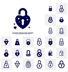 Set security icon logo design protection and vector