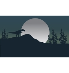 Silhouette of one Allosaurus with moon vector