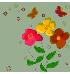 Simple flower background with butterflies vector image